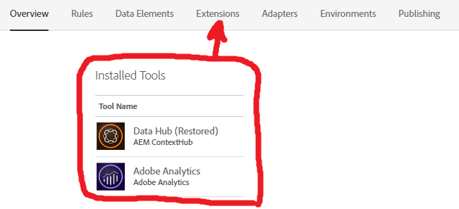 Adobe Launch tools are in Extensions