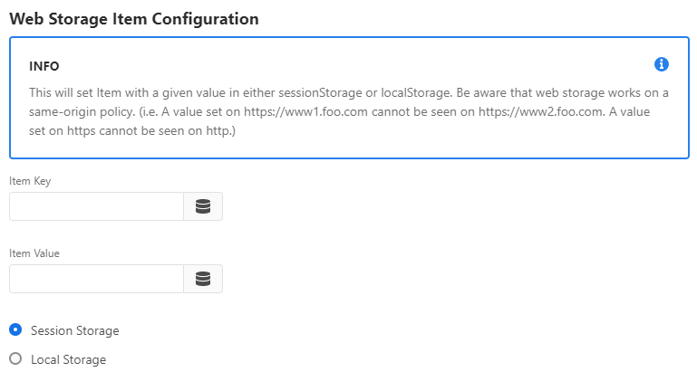 Web Storage Action